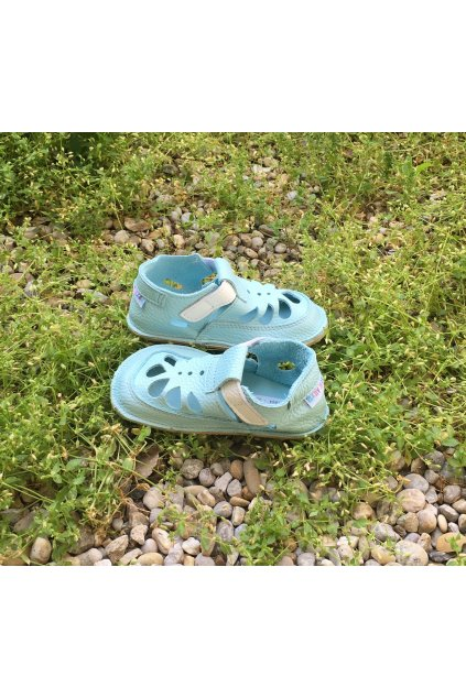 Baby bare shoes Summer perforation Acqua